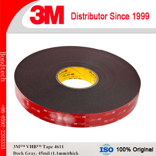 3M VHB Tape 4611 for bare metal, gray, 45mil, , 10mm x 33M  (Pack of 1)<br>