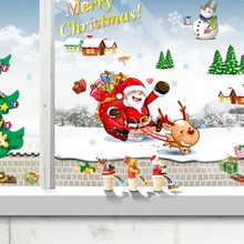 Large Christmas Tree Santa Claus Christmas Wall Sticker Living Bedroom Room Decor Christmas Window Stickers