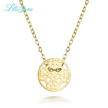 I&zuan 925 Silver Pendants Necklaces For Woman Yellow Trendy Round Decorative Pattern Fine Jewelry Party Link Chain(China)