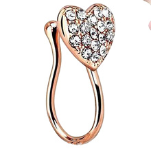 2017 Gold plate fake nose ring For Women Body Clip Hoop Piercing crystal Body Jewelry