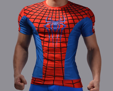 Men Amazing Movie Sheer Super Team Spiderman Sublimated Costume T Shirt Men Shaper Tee Tops Funny Body Building T Shirt