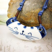 Cat Necklace -NFS-  New Arrival Hand-painted Blue And White Ceramic Jewelry Lucky Cat Necklace #1785545