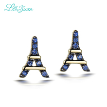 l&zuan Romantic Eiffel Tower 14K Yellow Gold Natural Stone Sapphire Stud Earrings Fine Jewelry for Women As Gift Party Earring(China)