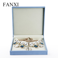 FANXI large size jewelry set box diplay wrapped with skull patch jewelry package/box stand for birthday party gift box sky blue