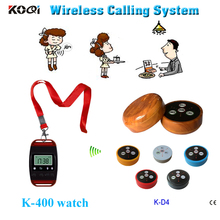 restaurant pager system for casino marina restaurant with 1pc K-400 neck hanging type watch and 5pcs 4-key call button