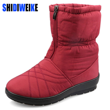 SHIDIWEIKE Plus Size Waterproof Flexible Cube Woman Boots High Quality Cozy Warm Fur Inside Snow Boots Winter Shoes Woman B264