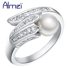Almei Love Rings Jewellery Silver Color Jewelry Imitation Pearl Ring For Women Engagement Sieraden Chinese-Market-Online J247(China)