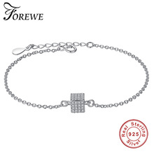 Forewe New Arrival 925 Sterling Silver Crystal Cube Bracelets For Women Elegant Lady Bead Chain Bracelet Fashion Silver Jewelry