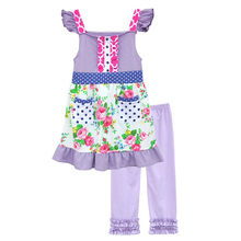 Latest Style Baby Girls Purple Clothing Sets Floral Sleeveless Top Cotton Ruffles Pants Boutique Kids Spring Summer Sets S060