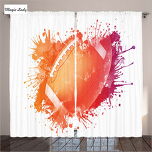 Curtains Decor Children Living Room Bedroom Rugby Ball Splash Watercolors Recreational Sports Orange 2 Panels Set 145*265 sm