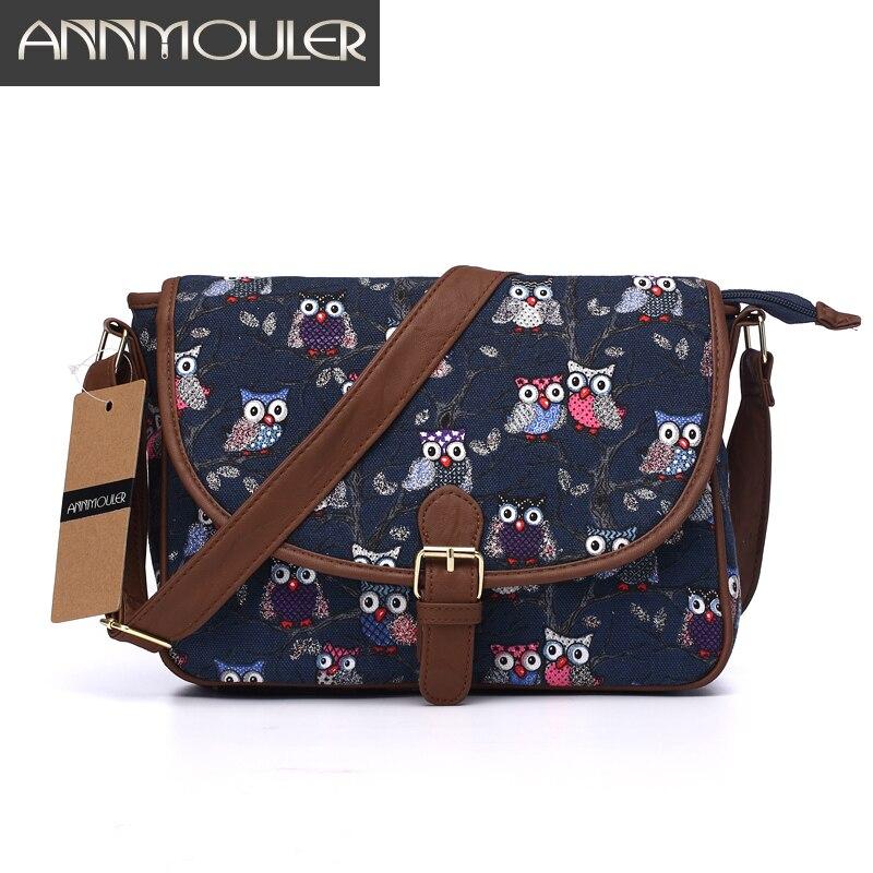Annmouler Brand Women Small Bags Canvas Shoulder Messenger Bags Patchwork Zipper Bag Owl Printing Adjustable Strap Crossbody Bag<br><br>Aliexpress