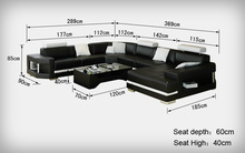 big white and black  leather corner sofa 0413-K5012