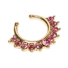 Charming Piercing Body Jewelry Crystal Rhinestones Inlaid Fake Nose Rings Color Titanium Gold Silver Plated Body-0299