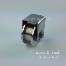 2 inch sliding gate stainless steel roller H groove with 2pcs 6000RS bearings(China)