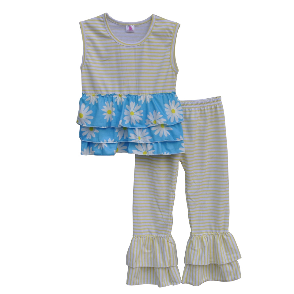 Persnickety Remake Kids Lovely Clothes Layers Ruffles Top Stripes Ruffle Pants Cotton Toddler Girls Boutique Clothing Sets S007<br>