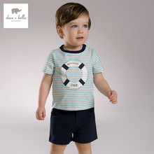 DB3539 dave bella summer baby boys striped clothing set kids sailor stylish clothes boys cool soft clothing set