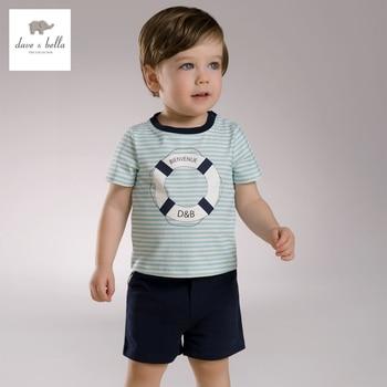 Db3539 dave bella été bébés garçons des vêtements à rayures set enfants sailor élégant vêtements garçons cool vêtements doux ensemble