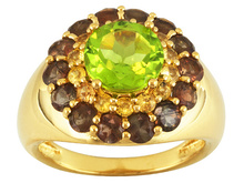 3.60ctw Manchurian Peridot, Yellow Sapphire, & Andalusite 18k Gold Over Silver Ring