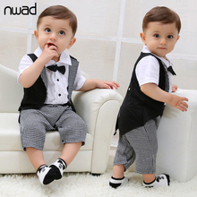 Baby Boy Tuxedos Romper 2017 New Summer Gentleman Plaid Clothing For Newborn Baby Kids Bow Short Sleeve Jumpsuits FF017