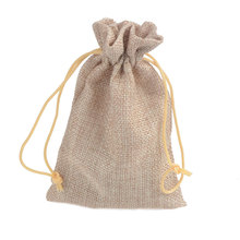 50pcs/lot 9.5x14.5cm Jewelry Gift Bag Linen Fax Pouches For Wedding Christmas Packing
