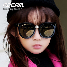 KDEAM Brand Sunglasses Kids Newest Good Quality Hot Selling Vintage Big Frame Round Sun glasses For Girls 5 Colors Oculos UV400