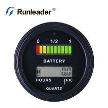 RL-BI0011 Battery Fuel Gauge Indicator with hour meter for DC powered equipment such as fork lifts, golf carts, floor care