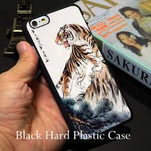 China Style Tiger Black Phone Case for iPhone 5S 5 SE 5C 4 4S 6 6S 7 Plus Cover ( Soft TPU / Hard Plastic for Choice )