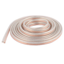 UXCELL Material 3 Meter 9.8 Ft Speaker 300 Wire Core Cable Cord Coil Car Home Audio Gold Tone plastic