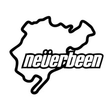 12.8*10.7CM NEVERBEEN Nurburgring Car Sticker Funny Classic Car Body Accessories Decorative Stickers Sliver/Black C4-0121