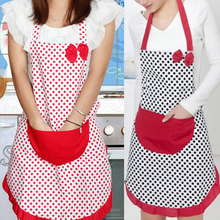 Adjustable Cute Vintage Bow Knot 2Colors Red Black Dot White Background Women Kitchen Restaurant Bib Cooking Aprons With Pocket