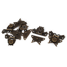 UXCELL Weight Antique Style Butterfly Shape Box Hasp Lock Latch Bronze Tone 50 X 45Mm 5Pcs 36g