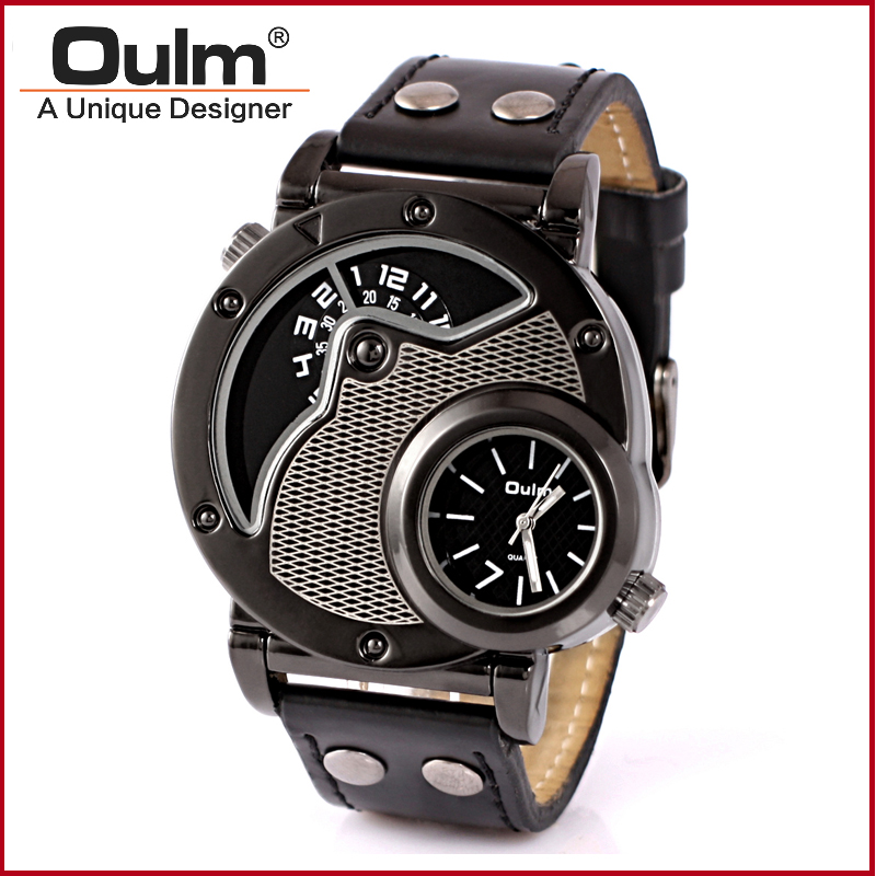 Factory Direct Fashion Watch Fashion Design Watches Oulm Men Wristwatch Dual Time Zone Man Watch Fashion Casual Style<br><br>Aliexpress