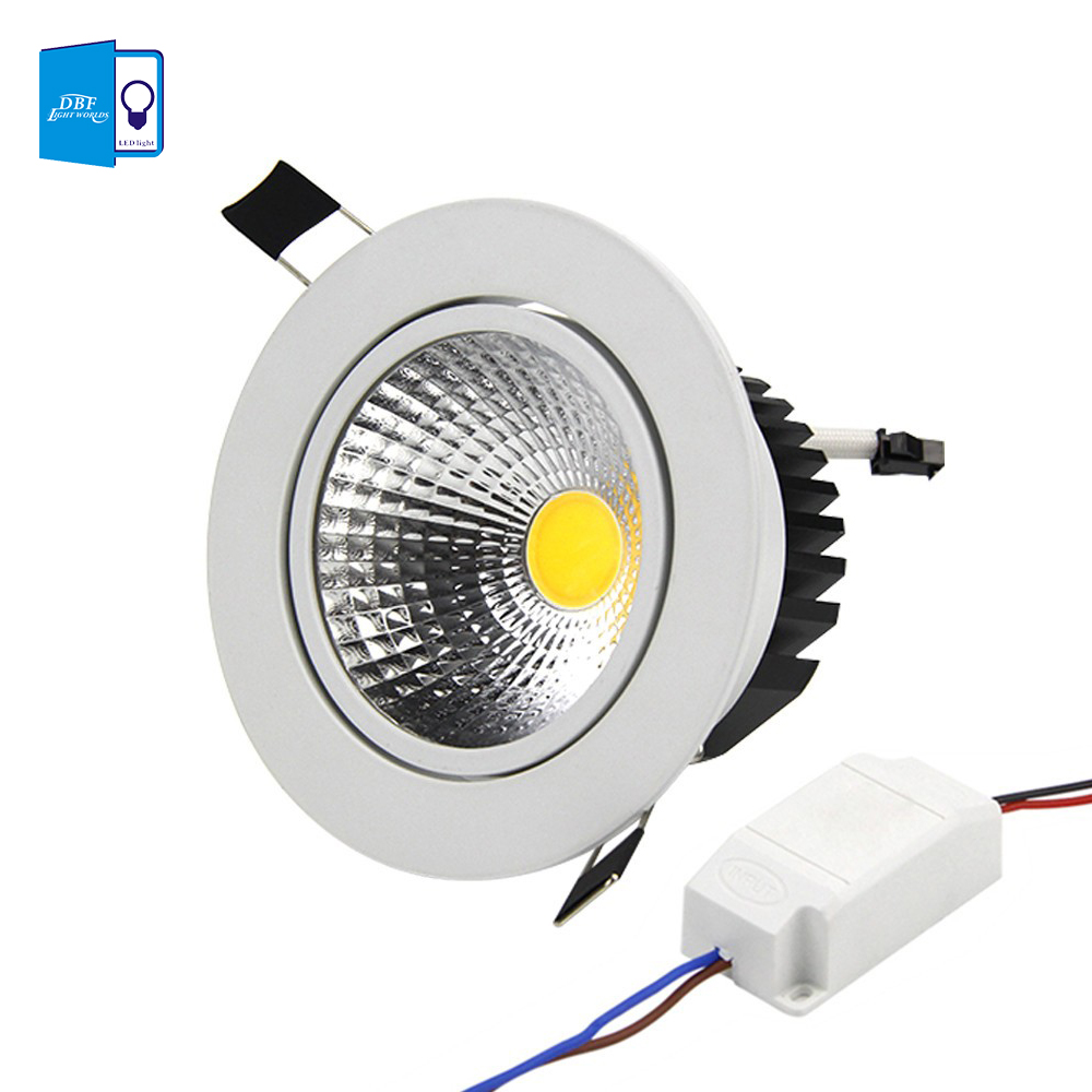 [DBF]1 Super Bright Recessed LED Dimmable Downlight COB 6W 9W 12W 15W LED Spot light LED decoration Ceiling Lamp AC 110V 220V(China)