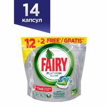 Dishwasher Tablets Fairy Platinum All In One Original (Pack of 14) Tableware Washing Dishes Detergents for Dishwashers