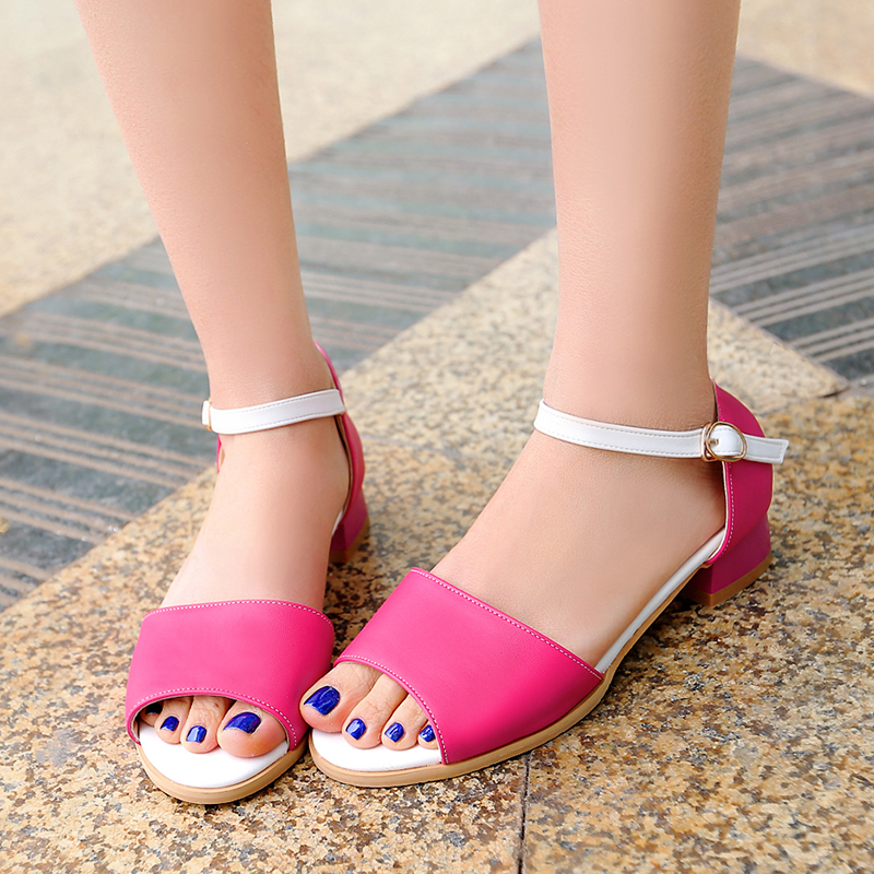 2017 summer Simple Women Shoes buckle strap low-heeled Solid color patch Square heel Peep Toe sandals big size 32-48 T786<br><br>Aliexpress