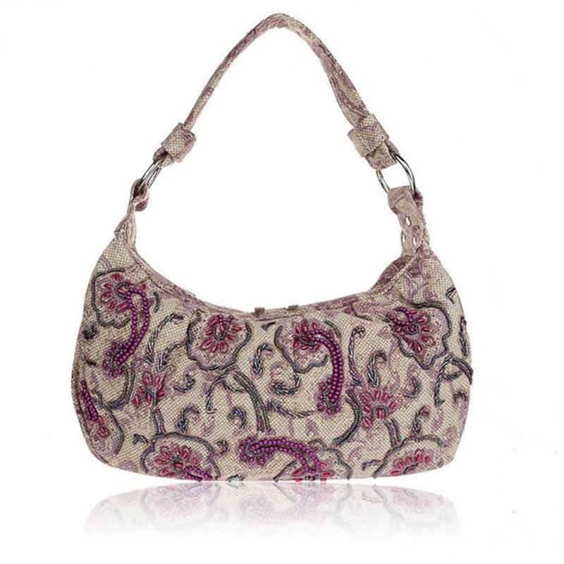 Fresh Style Hand Beaded Handbag Embroidery Linen Shoulder Bag Stylish Women Evening Bag Mother Tote Bag Sac A Main AB1107<br><br>Aliexpress