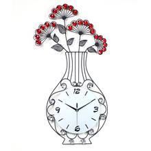 Creative Vase Sitting Room Quiet Wrought Iron Wall Clock Home Decor Personality Characteristics JJT-S141
