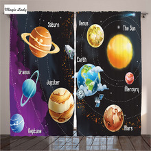 Bedroom And Living Room Drapes Curtains Solar System of Planets Venus Mercury Sphere Neptune Black 2 Panels Set 145*265 sm
