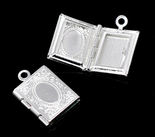 LASPERAL20 Silver Color Photo Frame Rectangle Setting Locket Pendants Cameo Settings Embellishments Cabochon Base 17x12mm(China)