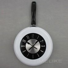 10Inch Creative Stylish Metal Frying Pan Wall Clock for Kitchen Decoration Art Watch(China)