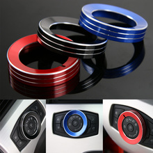 1Pc Aluminum Car Front Head Light Lamp Switch Button Circle Decoration Trim Ring Fit For Ford Mustang F150 2015 2016 3 Colors(China)