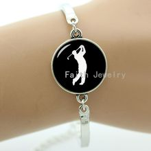 Golf player silhouette art bracelet casual sports Bowling Swimming Tennis handmade gift vintage simple elegant jewelry T687(China)