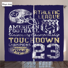 Curtains Decor Children Living Room Bedroom American Football Athletic Apparel Blue White Yellow Art 2 Panels Set 145*265 sm