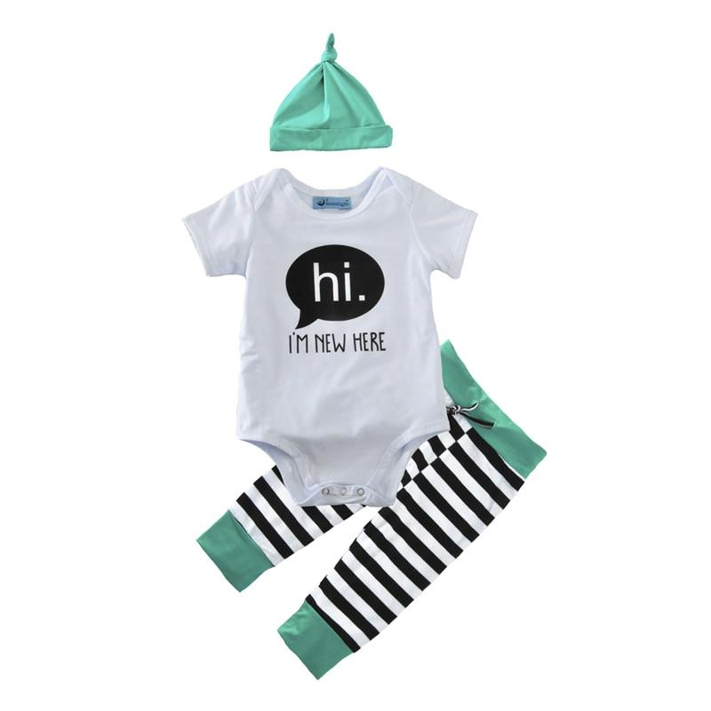 Summer Style Baby Boy Girl Clothing Set 2017 Letter Romper+Stripe Pant+Cap 3pcs Infant Baby Set Brand Newborn Baby Clohting Set<br><br>Aliexpress