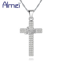 Almei 15%Off Wedding Cross Love Necklace Necklaces for Women 2017 Best Friends Crystal Pendant Gifts Colares Feminino PN4353