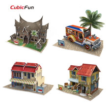 DIY 3D Puzzle Cubic Fun World Style Paperboard Model,  Southeast  Asia Flavor Architectural Features Puzzle 3D Model, Kids Toys