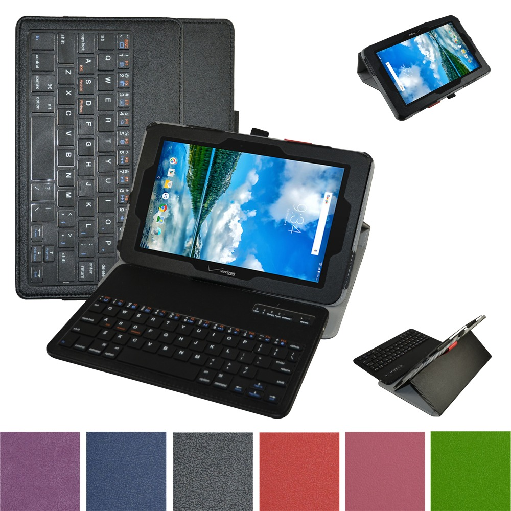 New Soft Removable Bluetooth Keyboard PU Leather Case Cover For 10.1 Verizon Ellipsis 10 Tablet<br>