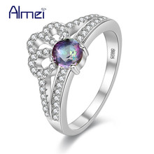 Almei USA Rings for Women Crown Ring Anel Feminino Fashion Jewellery Jewelry Silver Color Zircon Ring Wedding Dropshipping Y2735