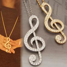 Hot Sale 1pc Male Jewelry Diamante Rhinestone Music Note Pendant Necklace Sweater Chain Mens Necklaces NL-0428