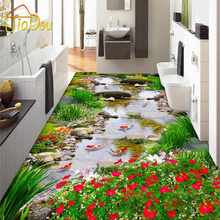 Custom Floor Stickers PVC Self-adhesive Wallpaper Little Brook Fish Living Room Bedroom 3D Floor Mural Wallpaper Home Decor(China)